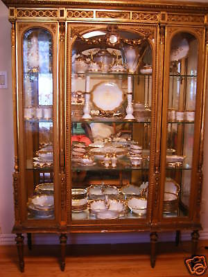 Antique French Louis XIV  Carved Gilt Wood wooden Vitrine/curio/china cabinet