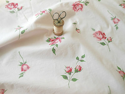 Vintage Roses Cotton Fabric ~ Red  on Soft Pink ~ quilts clothing pillows window