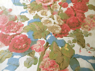 Antique Vintage Hollyhock Cottage Floral Cotton Fabric ~ Coral Pink Blue Green