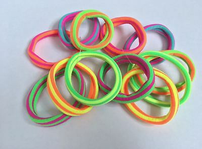 12 Quality Thick Endless Snag Free Neon Elastic Girls Kids Hair Bands Bobbles