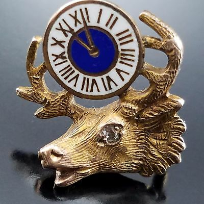Antique Diamond Elks 11th Hour Fraternal Gold Lapel Pin Screw Back Jewelry