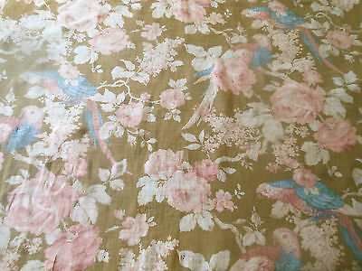 Antique Shabby Romantic Birds Roses Light Cotton fabric #5~ Soft Pink Blue Brown