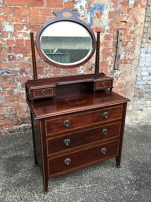 Inlaid Mahogany Antique Edwardian Dressing Chest - Antique Dressing Table