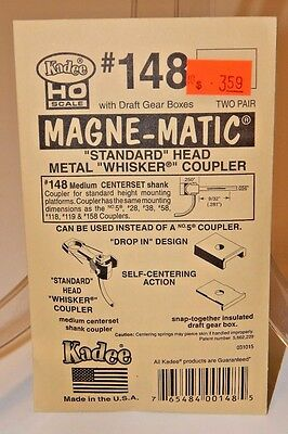 "Kadee HO #148 Magne-Matic Standard Metal ""Whisker"" Couplers (4) NEW"