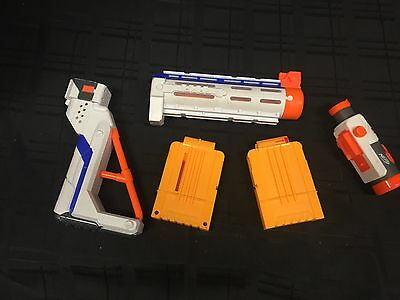 NERF - Lot of Nerf Gun Accessories. Barrel, Stock, Scope, Two Clips