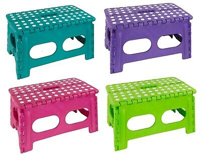 Home Basics NEW Bright Wide Large Folding Step Stool with Non-Slip Dots- FS49429