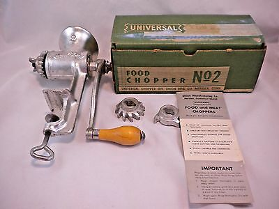 Vintage Universal No 2 Hand Crank Meat Grinder Food Chopper 3 Cutters