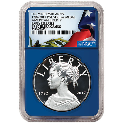 2017-P Proof 225th Ann. American Liberty Silver Medal 1 oz NGC PF70UC Flag ER La