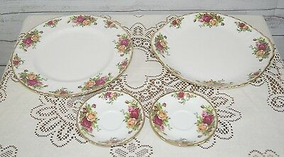 """Royal Albert Old Country Roses Cake Plate + 10.5"""" Dinner Plate + 2 Saucers"""