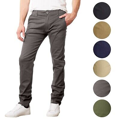 Mens Chino Pants Jeans Cotton Stretch Slim Fit Straight Leg 5 Pocket Washed NWT
