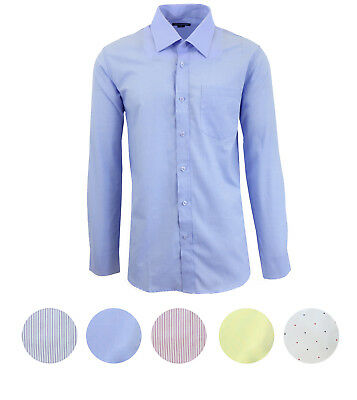 Men's Long Sleeve Dress Shirts Premium Fancy Shirt Solid Stripe & Polka Dot NWT