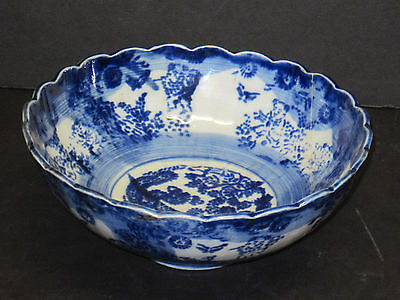 ANTIQUE CHINESE BLUE-AND-WHITE BOWL PORCELAIN HAS a REPAIR 7 INCH FLOW BLUE