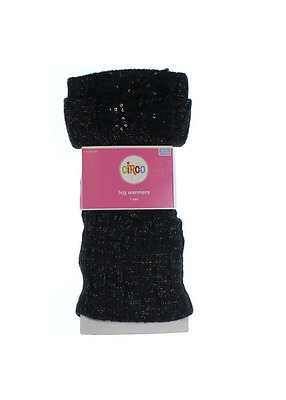 CIRCO Girls Leg Warmers With Sequin Lace Bow SPARKLY BLACK