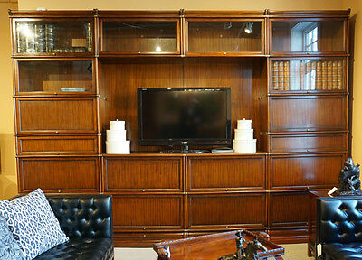 Beautiful Walnut TV wall unit Studio Globe Wernicke Barrister Stacking Bookcases