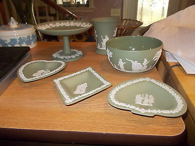 "6 Pieces-Sage Wedgwood Jasperware-Compote, Bowl, 4"" Vase, & 3 Small Dishes"
