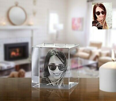 Personalised 2D Laser Engraved Crystal Cube Paperweight
