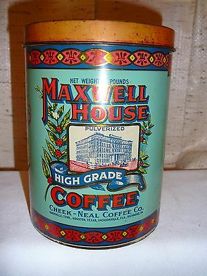 Old 2 Lb Tall Maxwell House Coffee Can. Really Cute