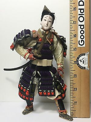 Antique Edo Period 1800s Japanese Samurai Doll Magnificent Sword And Details.