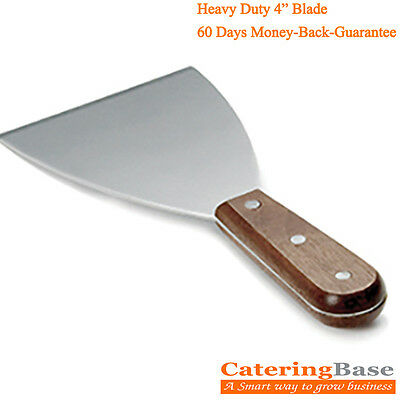 "Food Safe Stainless Steel Griddle Scraper with Wooden Handle- 4"" wide Blade"