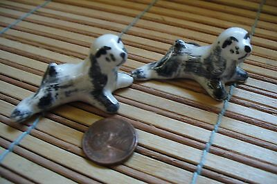 2 Adorable  White And Grey  Cocker Spaniel Puppy Dog  Figurines -unique coloring