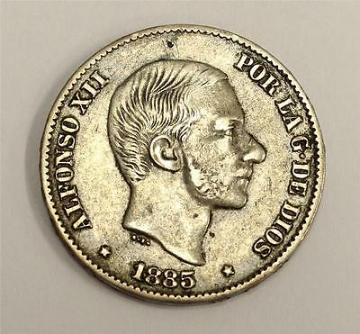 1885 Philippines Spain 50 Centavos F15+ authentic and original