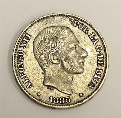 1885 Philippines Spain 50 centavos VF30 authentic and original
