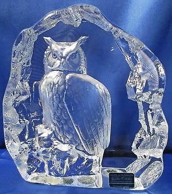 Mats Jonasson Sweden Clear Full Lead Crystal OWL on Rock Figurine FREE Ship