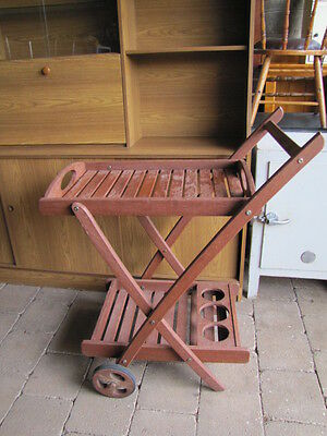 """Lovely 'OUTBACK"""" Hardwood Outdoor Drinks Trolley"""