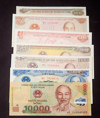 Vietnam 1988 Set of 7 Banknotes 100 - 10,000 Dong Paper and Plastic Notes UNC