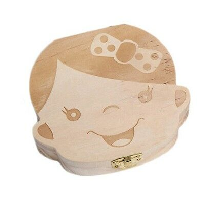 US Baby Tooth Box Save Milk Teeth Wood Boy Girl Kids Storage Fairy Case Hot Gift