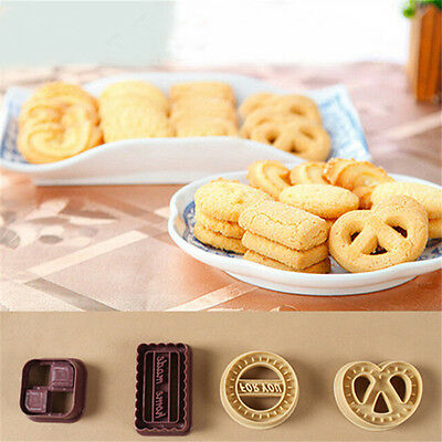 4x Classic Danish Cookies Shape Fondant Cake Cutter Cookie Cake Baking Mold Set