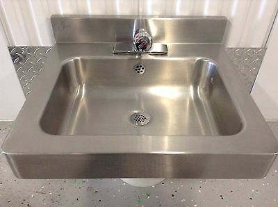 Just Wall Hung Stainless Sink With Metering Chicago Faucet