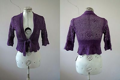 Lilac Purple Acrylic Knit Summer Cardigan Top Small Buy 3+items for FREE Post