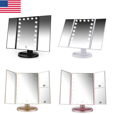 Easehold Tri-Fold 21 LED Lighted Touch Screen Tabletop Vanity Makeup Mirror 【US】