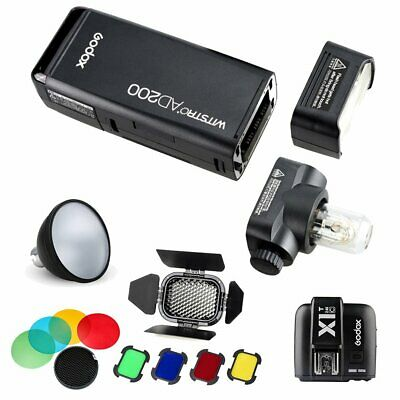 Godox AD200 TTL HSS Flash +X1T-C for Canon +BD-07 Barn Door +AD-S11 Color Filter