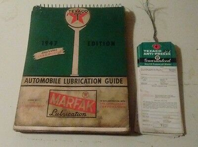 1947 Texaco Marfak  Lubrication Guide,and 1950`s Service Tags