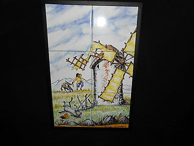 Vintage Don Quixote Spain 6Panel Painted Wall Tile Windmil Signed Toledo Sanchez