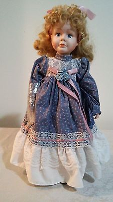 Porcelain 16'' Tall Girl Doll with Blue Dress