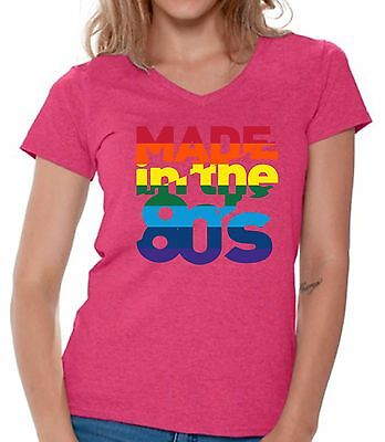 c31d0fa2 Made In The 80's Rainbow V-neck Shirts T shirts for Women Women's Birthday  Gift