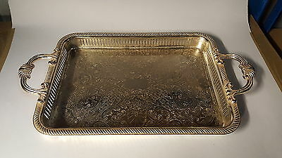 Silver plate / electroplate vintage Victorian antique handled gallery tray B
