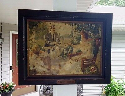 """Antique ORIGINAL Early 1906 Tin Litho Sign NECCO SWEETS """"A Sweet Surprise"""""""