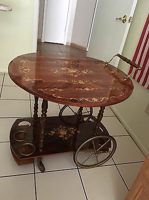Vintage Italian Inlaid Marquetry Wood Serving Bar Tea Cart With Drop Leaf