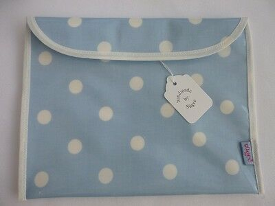 Handmade-Baby Health Red Record Book Cover - Blue/White Dotty Fully Lined-BNWT