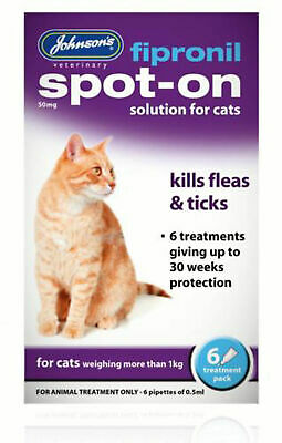 Johnsons Fipronil Spot On Treatment For Cats Kills Fleas & Ticks 30 Weeks