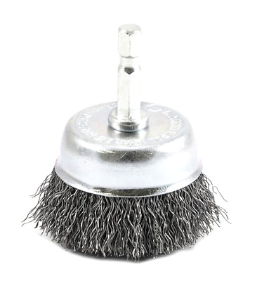 Wire Cup Brush for Drills Coarse Crimped with 1/4 Inch Hex Shank 2 x 0.012 Inch