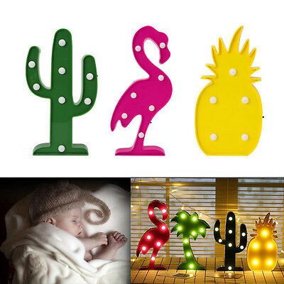 Flamingo Pineapple Cactus LED Night Lamp Light For Home Party Wedding Decor DIY