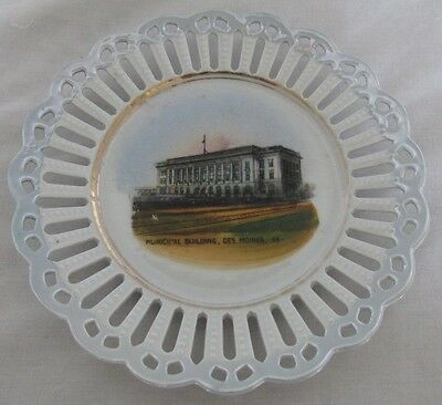 """Old Souvenir China Desmoines Ia Municipal Building Germany 5 3/4"""" Retic Plate"""