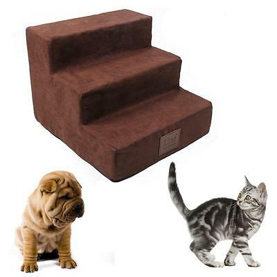 Dog Stairs Foam Travel Pet Ramp Ladder to get on High Bed 3 Easy steps for Cats