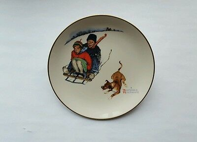 Gorham Norman Rockwell plate, 1972 Limited Edition, Winter-Downhill Daring