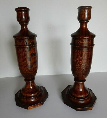 Pair of Large Antique Wooden Dark Oak Candlesticks 29cm c.1940